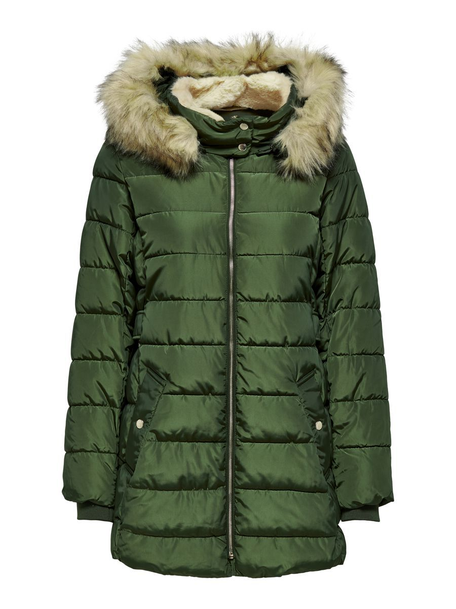 Only Long Quilted Jacket Dames Green