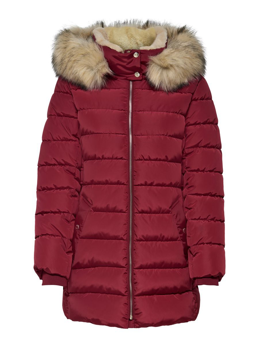 Only Long Quilted Jacket Dames Rood