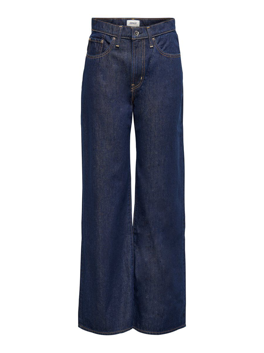 Only Onlhope Life Hw Wide Straight Fit Jeans Dames Blauw
