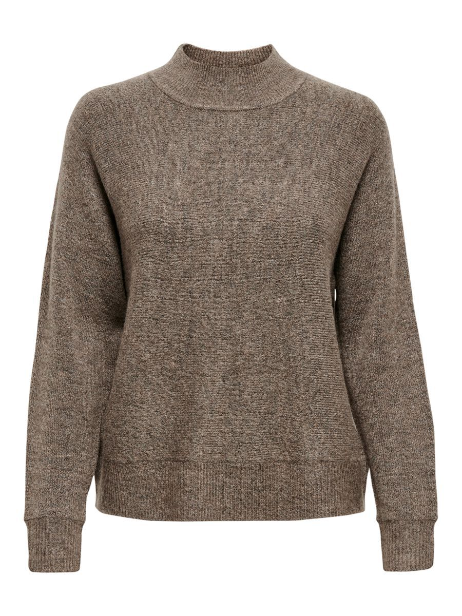 ONLY High Neck Knitted Pullover Dames Bruin