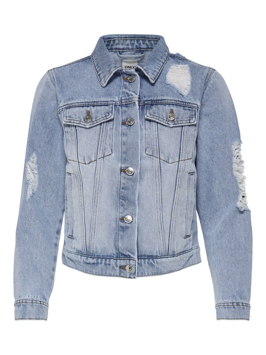 ONLY Destroyed Jeansjacke Damen Blau | Bekleidung > Jeans > Destroyed Jeans | Only