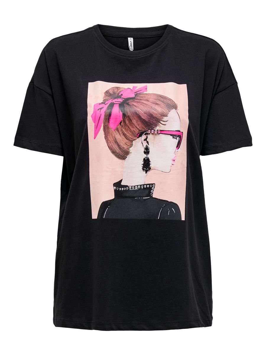 ONLY Coupe Oversize, Imprimé Sur Le Devant T-shirt Women black