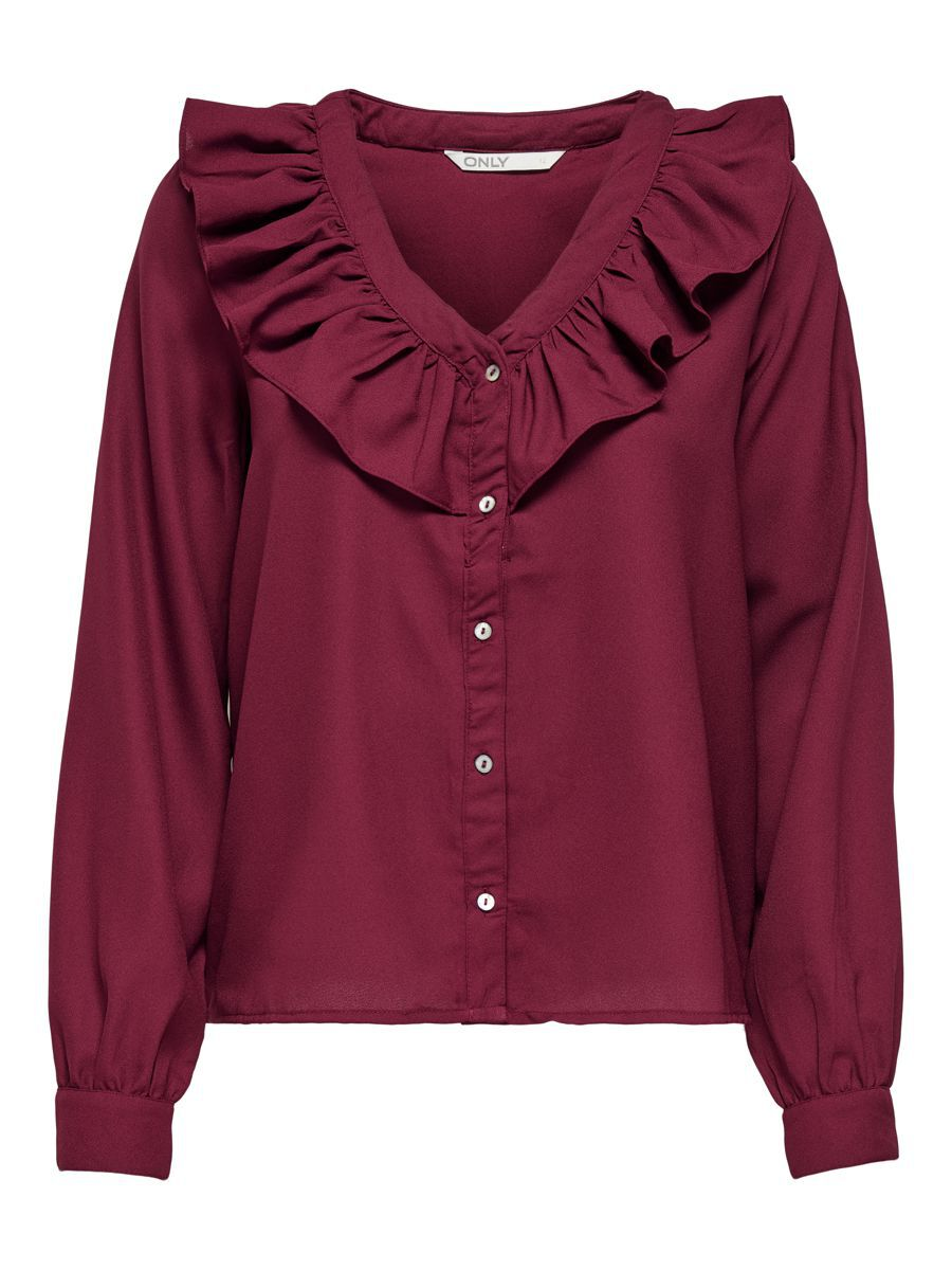 Only Frill Shirt Dames Rood