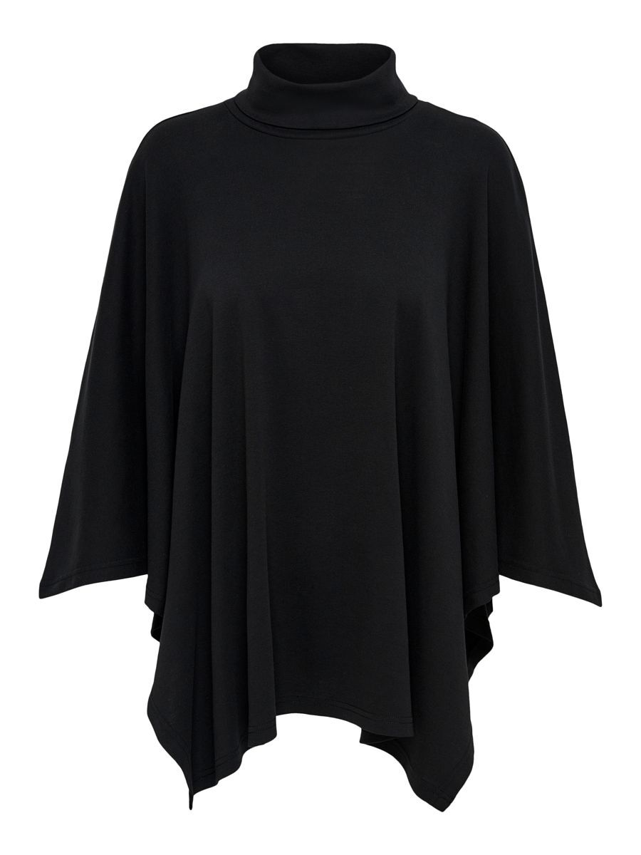 Only Roll Neck Poncho Dames Zwart