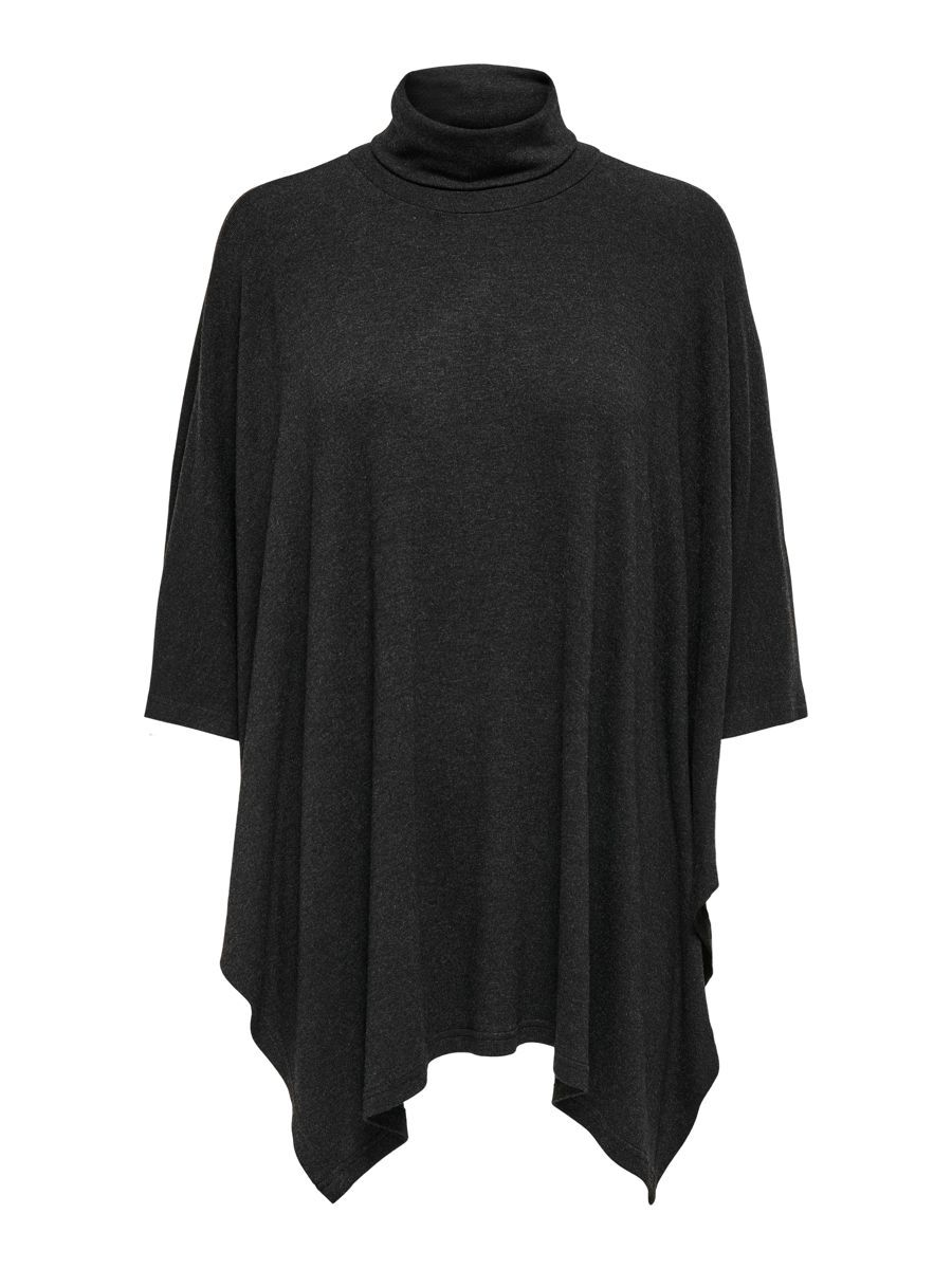 Only Roll Neck Poncho Dames Grijs