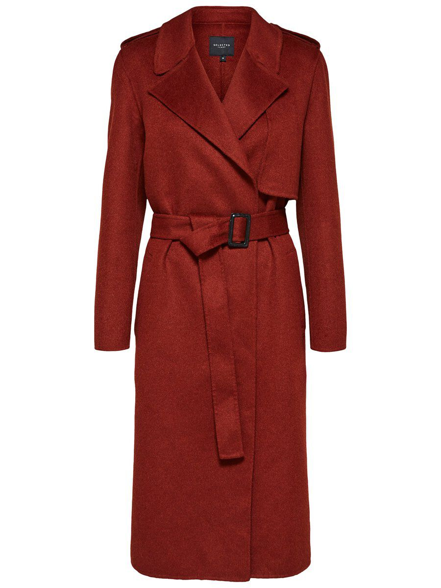 SELECTED Langer Trenchcoat Damen Rot | Bekleidung > Mäntel > Trenchcoats | Fired brick | Jeans | SELECTED