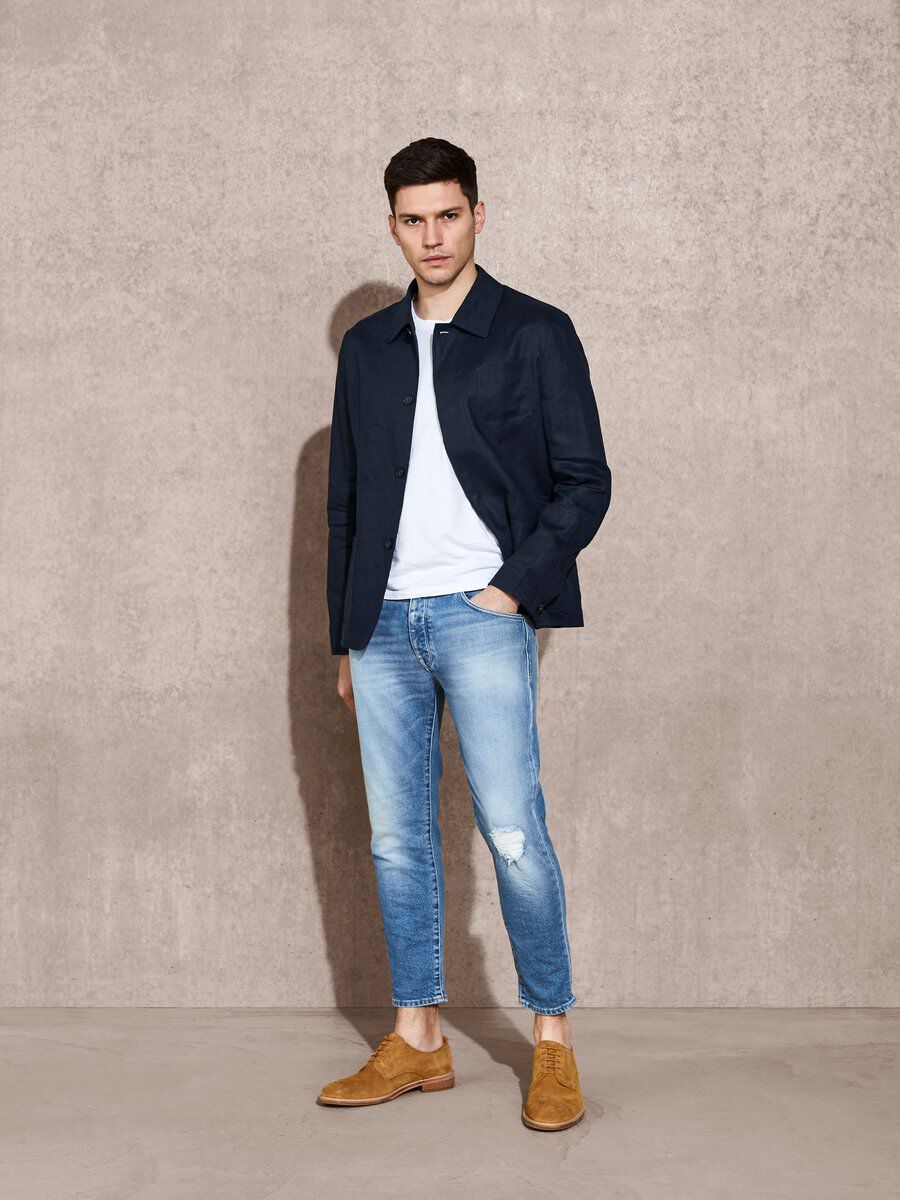 Bilde av SELECTED 1471 - Cropped Jeans Men Blue