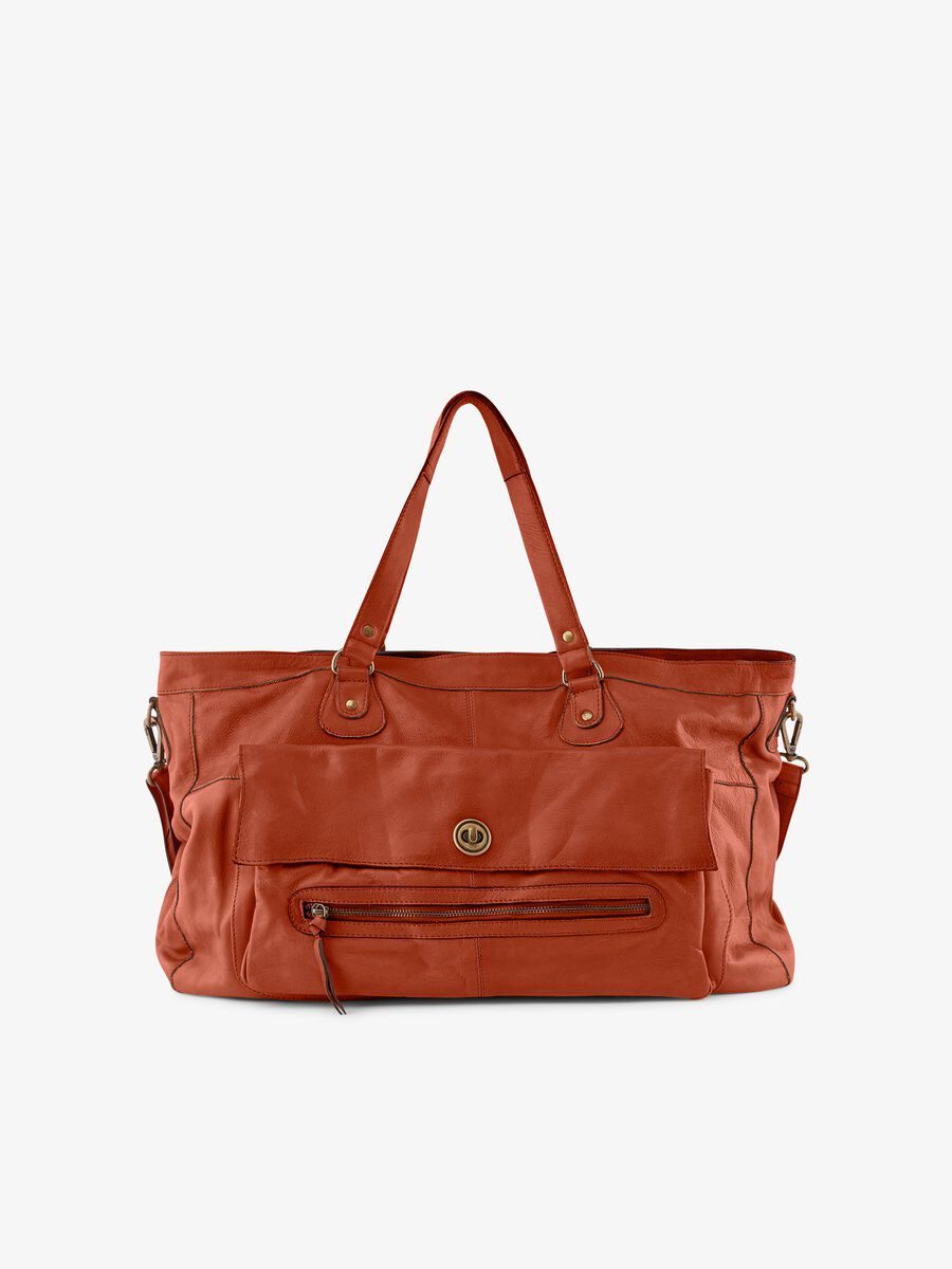 PIECES Leather Travel Bag Women Red