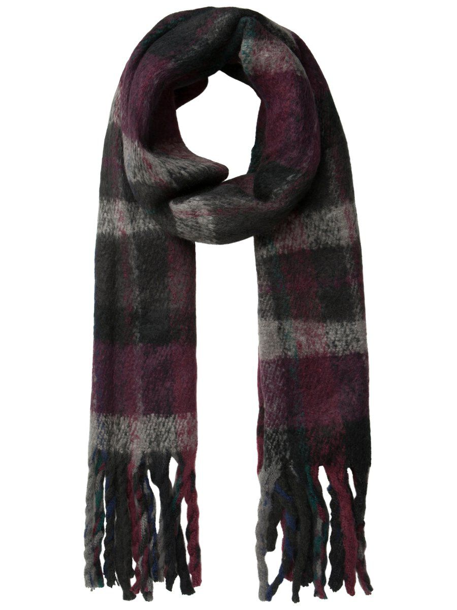 PIECES Knitted Check Scarf Women Grey