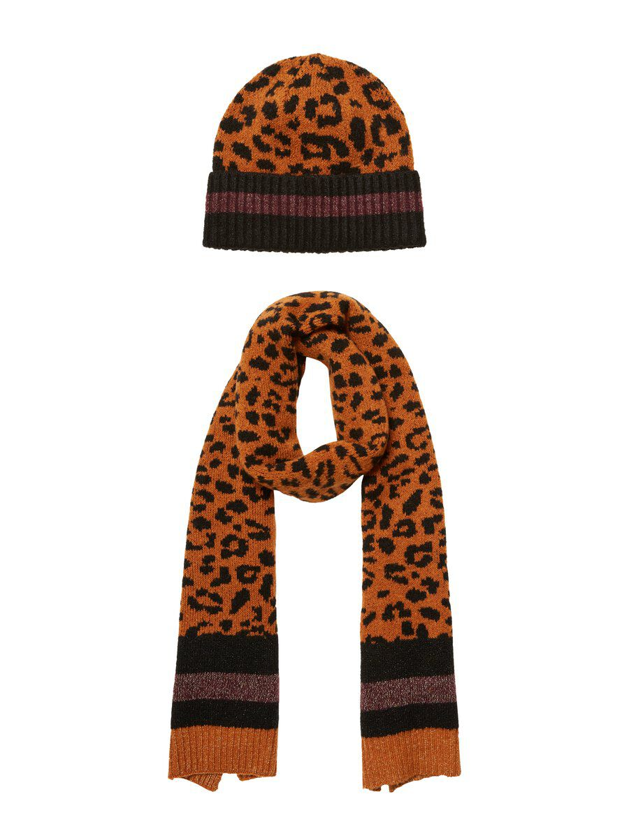 Image of PIECES And Scarf Hat Women Brown