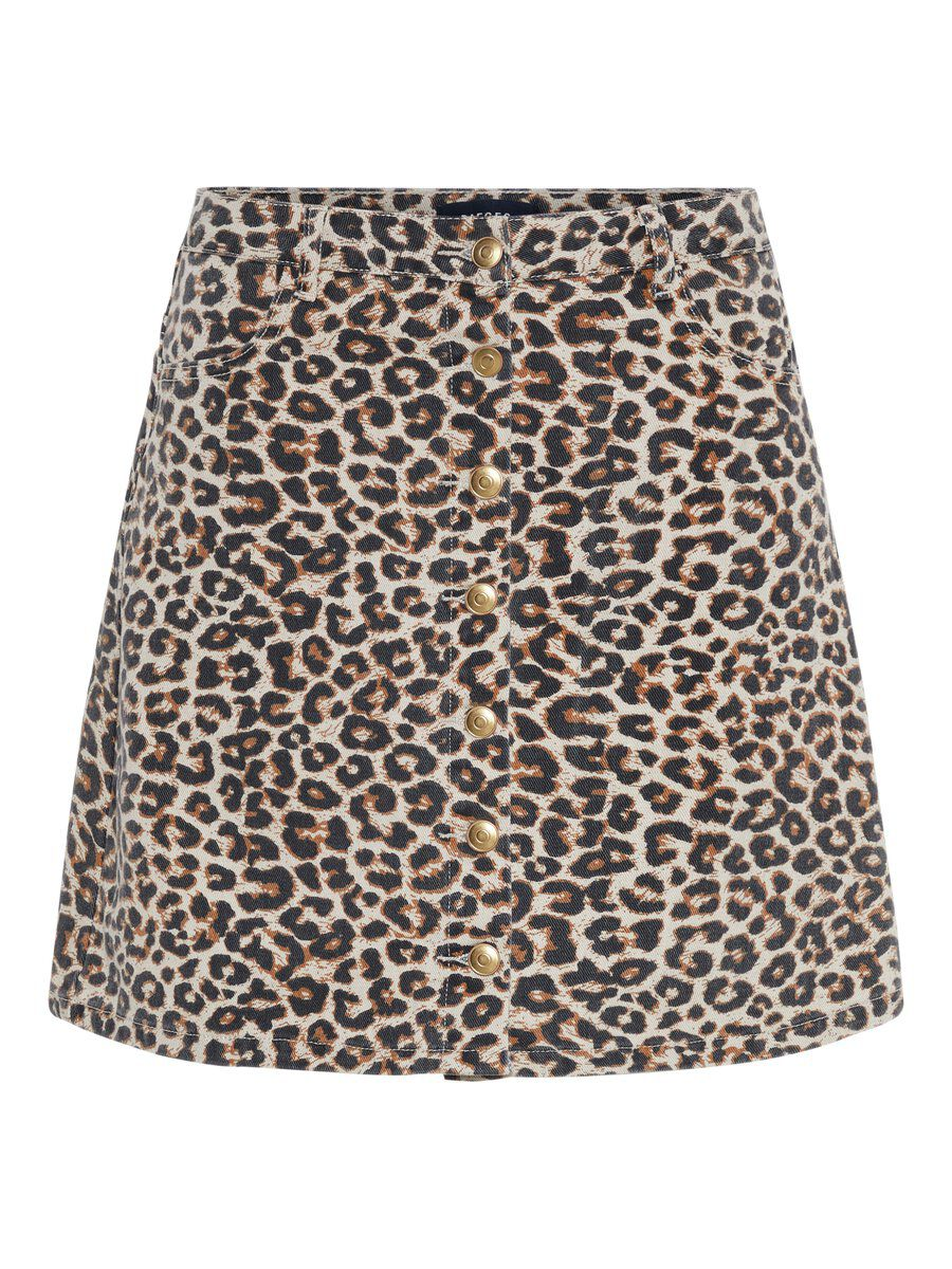 Image of PIECES Animal-print Cotton Mini Skirt Women Beige