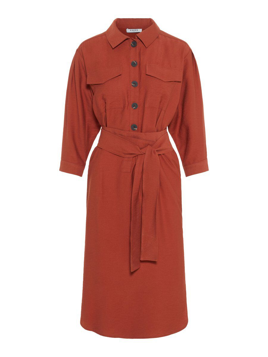 Image of PIECES 3/4 Sleeved Long Sleeved Dress Women Orange