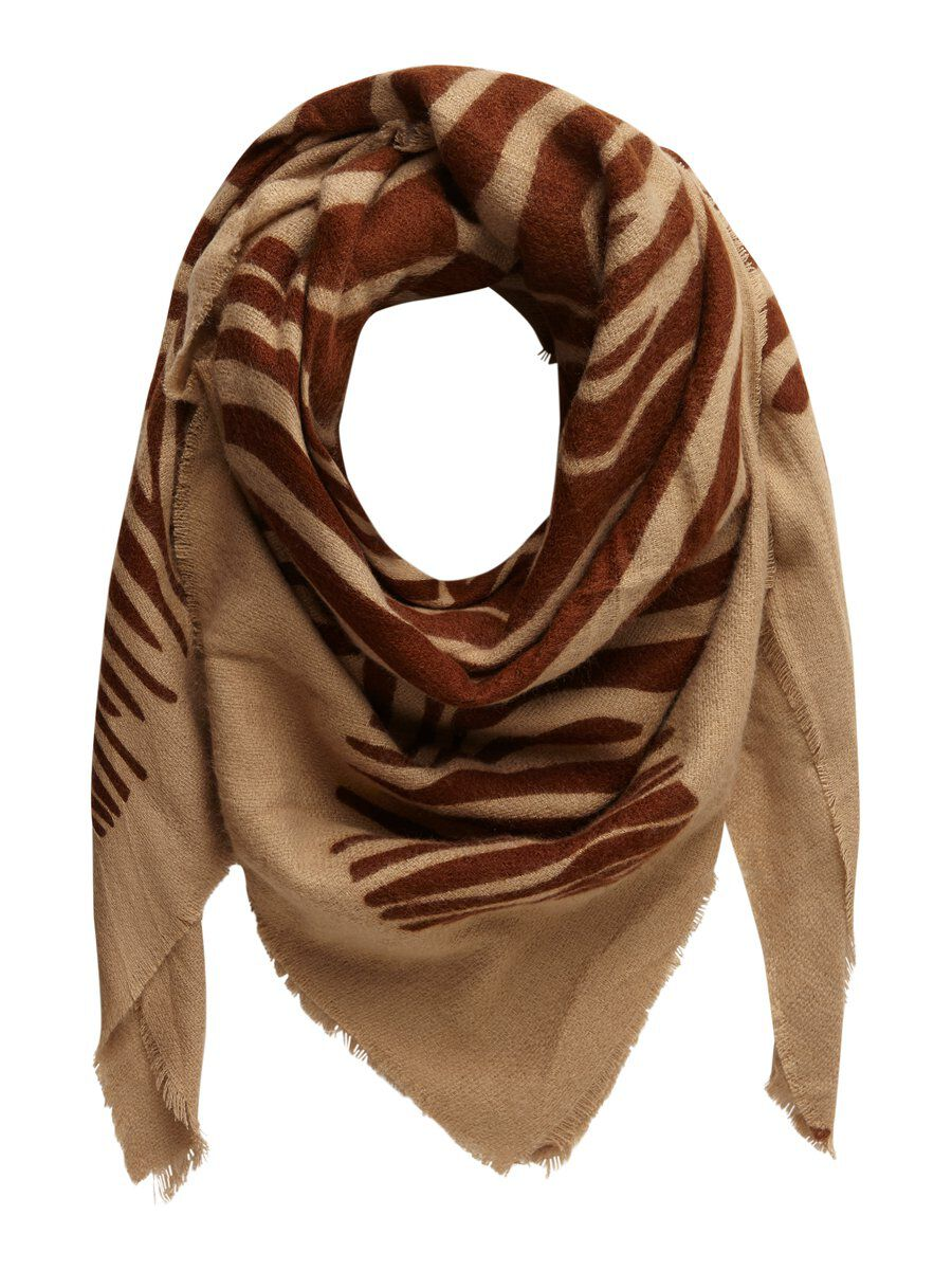 Image of PIECES Animal-print Scarf Women Beige