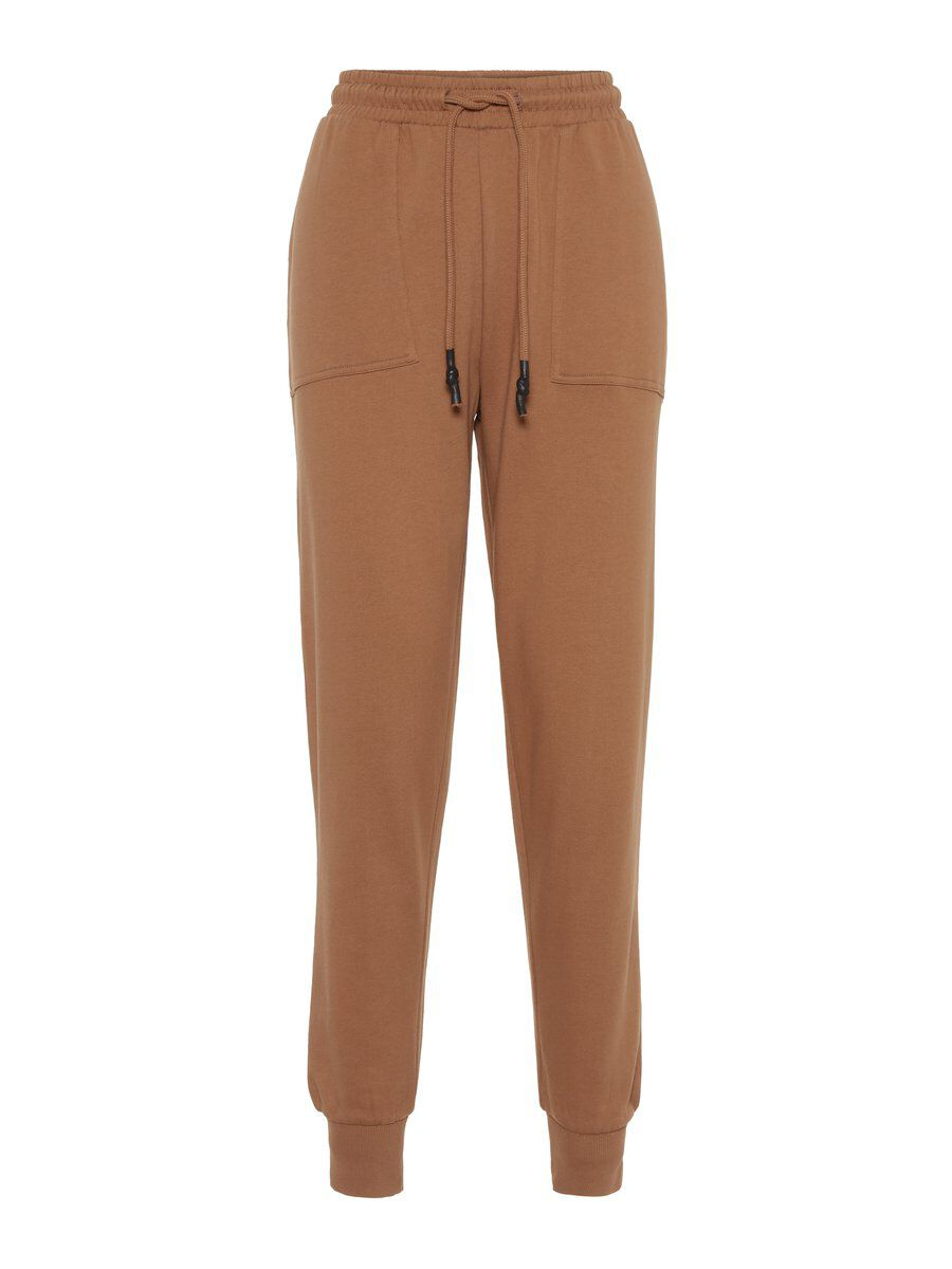 Image of PIECES 100% Cotton Joggers Women Brown