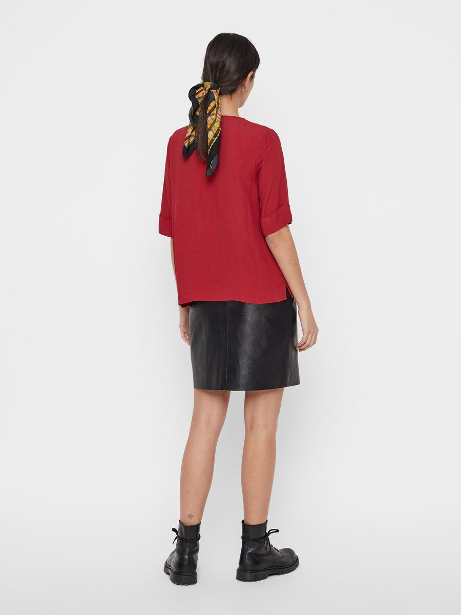 PIECES V-neck Viscose Blouse Women Red