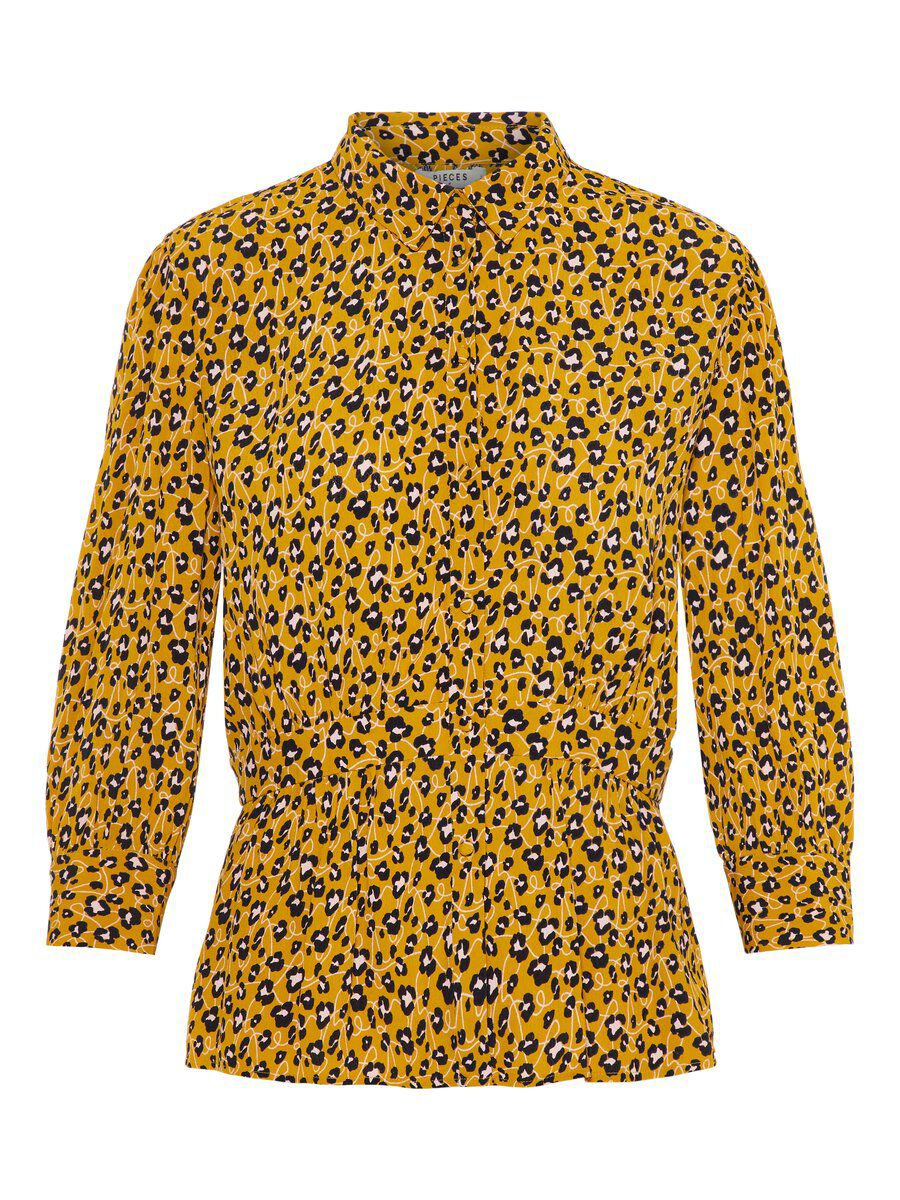 Image of PIECES Animal-print Viscose Shirt Women Brown; Yellow