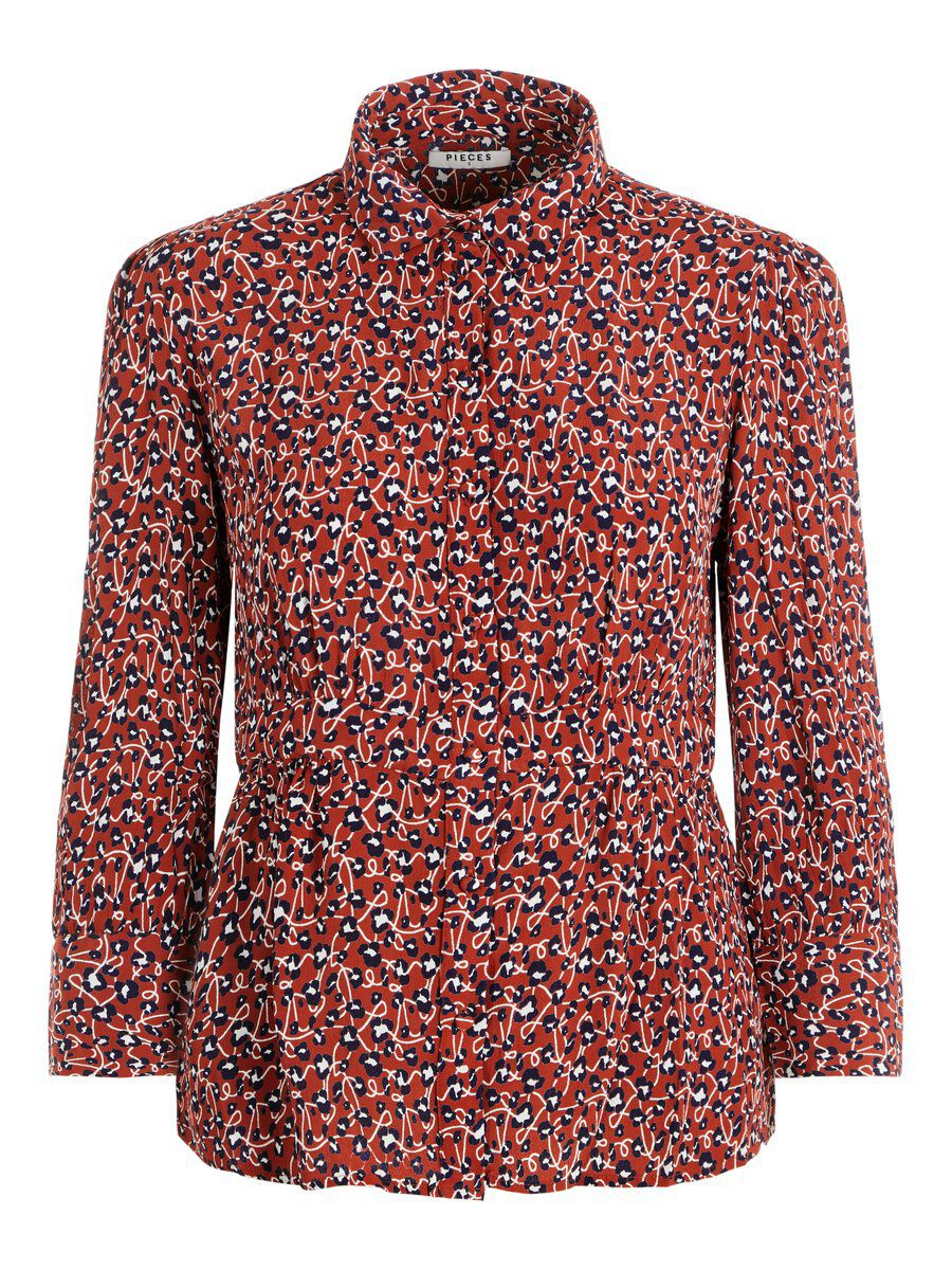 Image of PIECES Animal-print Viscose Shirt Women Red