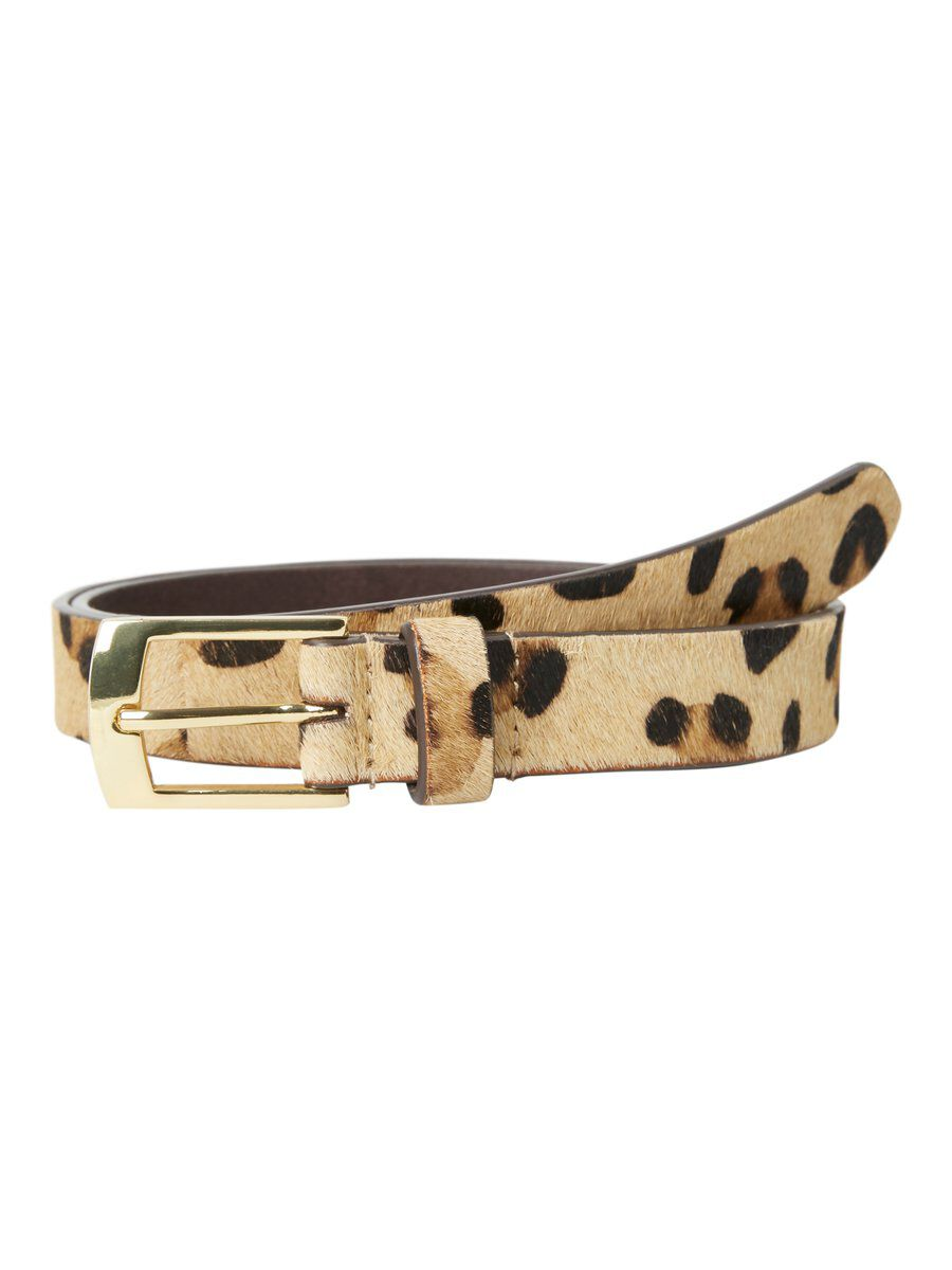 Image of PIECES Animal-print Leather Belt Women Beige