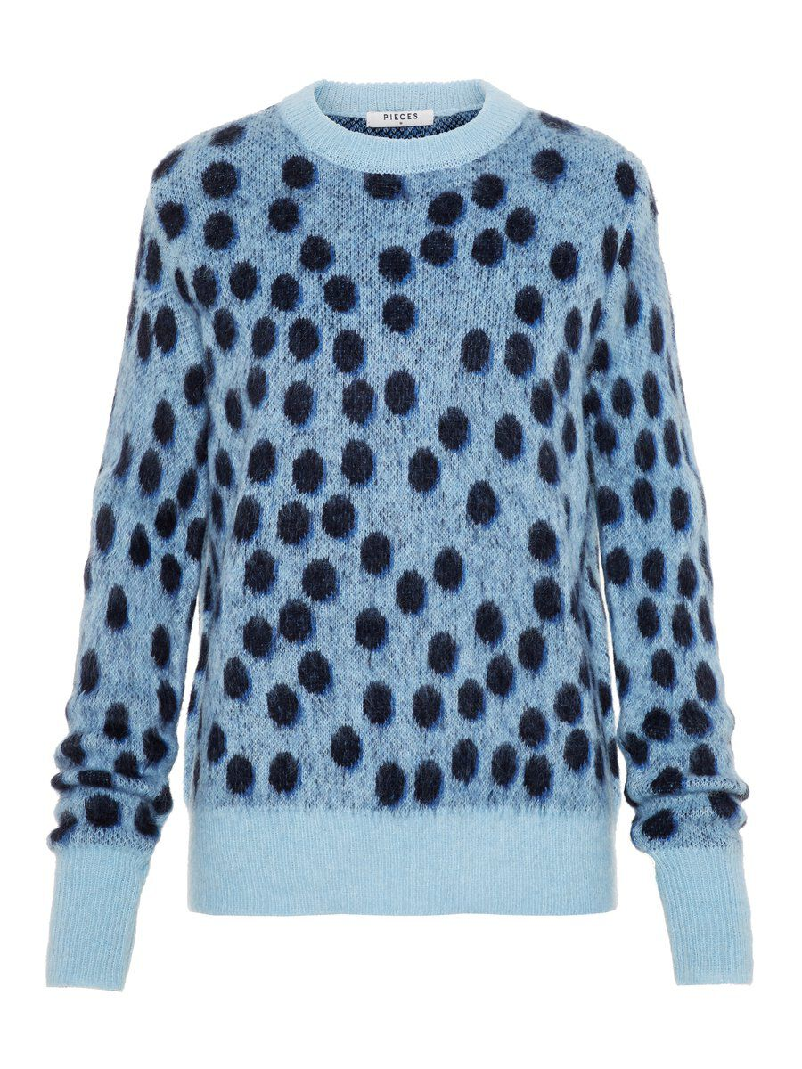 Image of PIECES Animal-print Fuzzy Sweater Women Blue