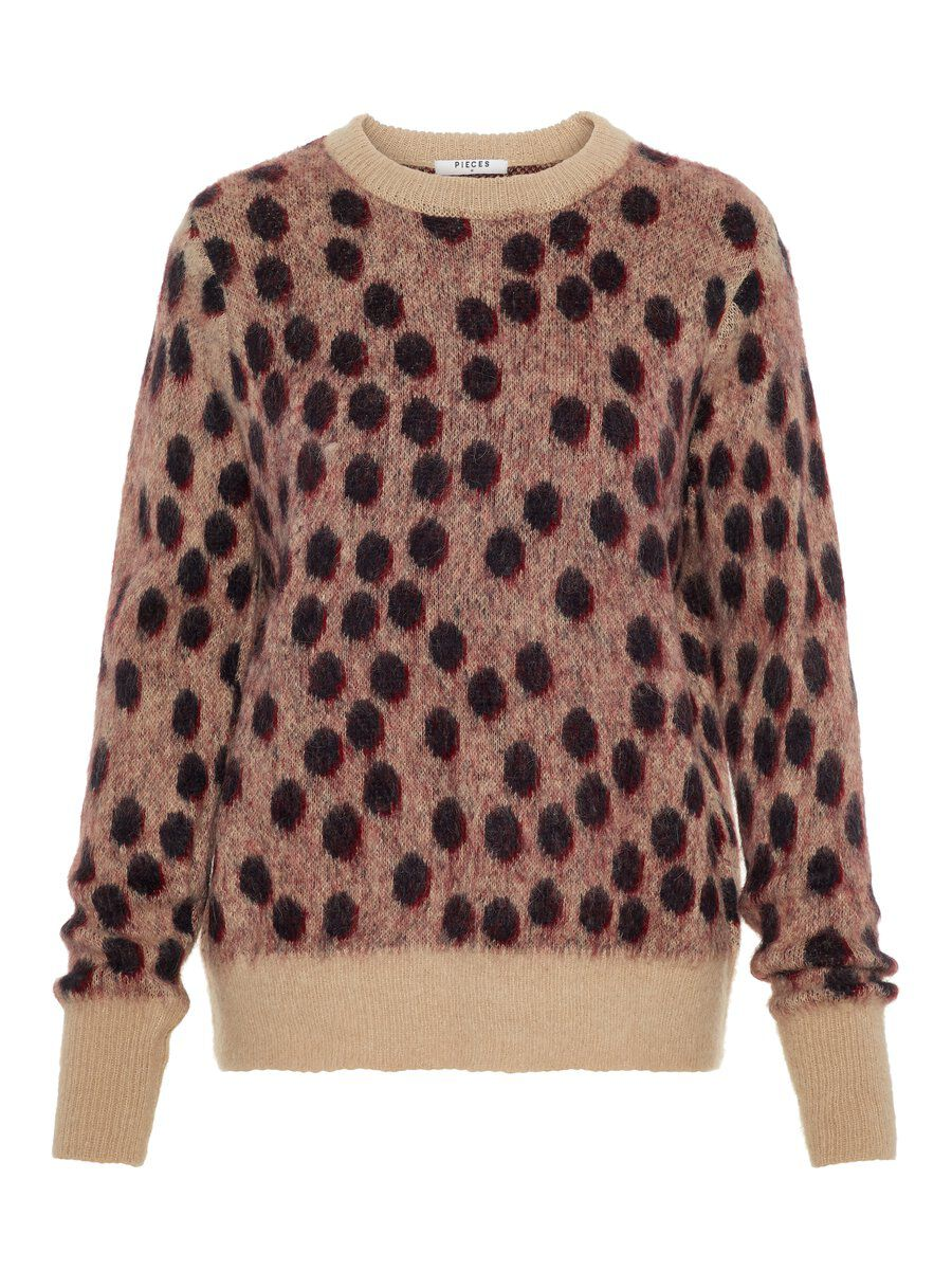 Image of PIECES Animal-print Fuzzy Sweater Women Beige