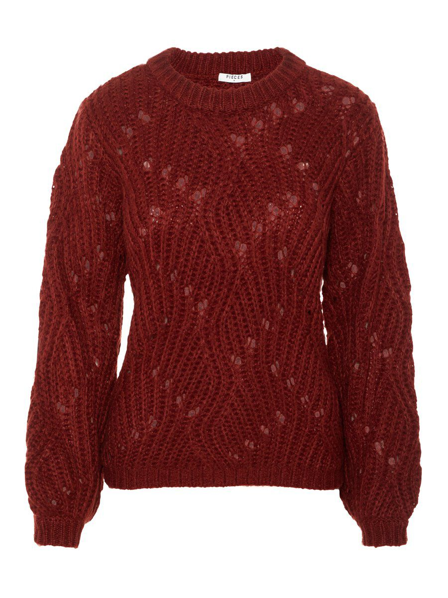 PIECES Thick-knit Pullover Women Red