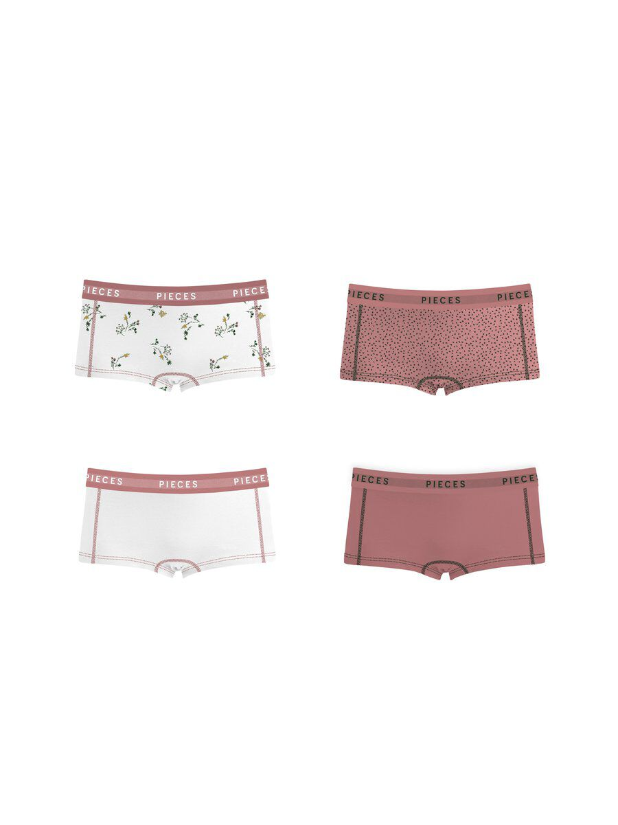 Image of PIECES 4-pack Cotton Boxer Shorts Women White