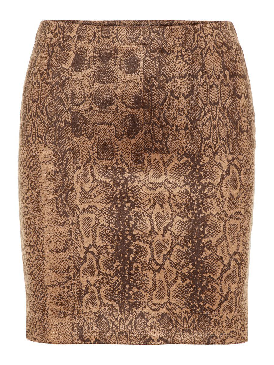 Image of PIECES Animal-print Mini Skirt Women Brown
