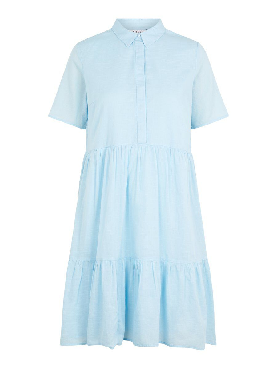 Image of PIECES A-line Cotton Shirt Dress Women Blue