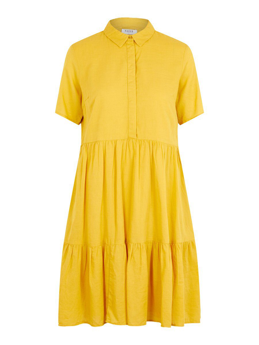 Image of PIECES A-line Cotton Shirt Dress Women Brown; Yellow