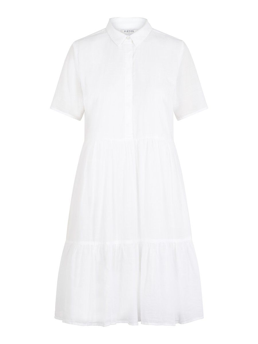 Image of PIECES A-line Cotton Shirt Dress Women White
