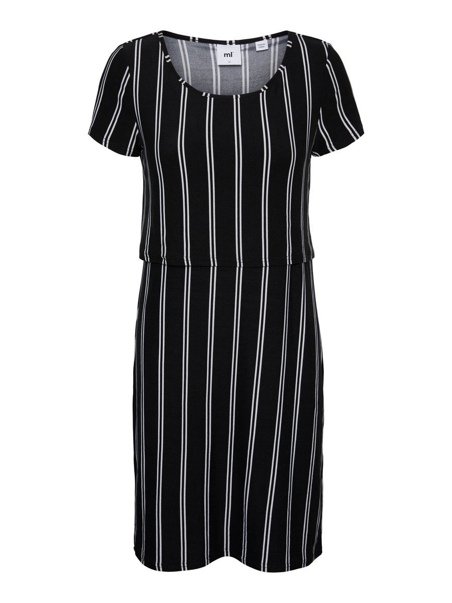 MAMA.LICIOUS Vertical Striped Nursing Dress Women White
