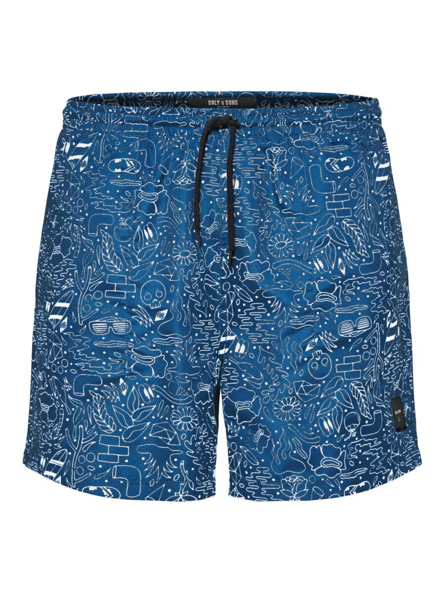 ONLY & SONS Imprimé Short De Bain Men Blue