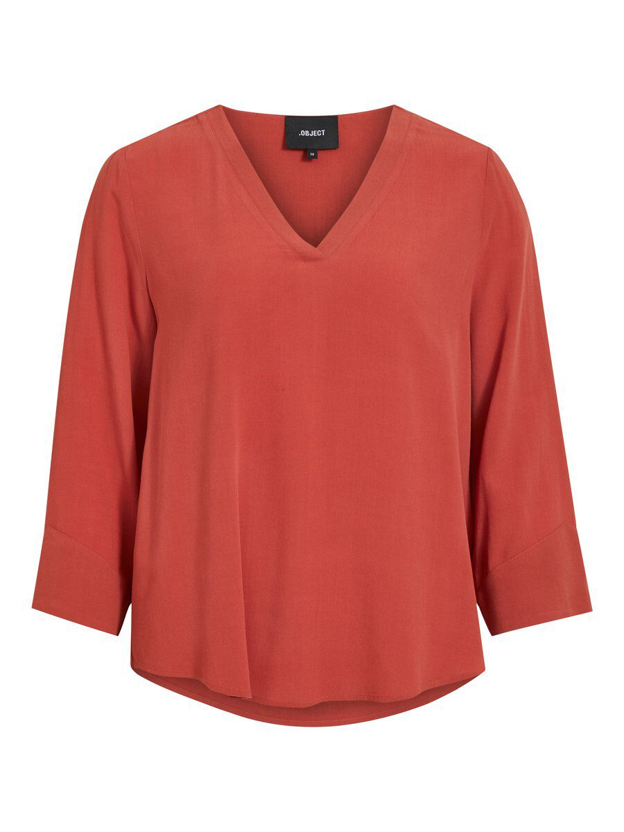 3-4-mouw Blouse Dames Rood