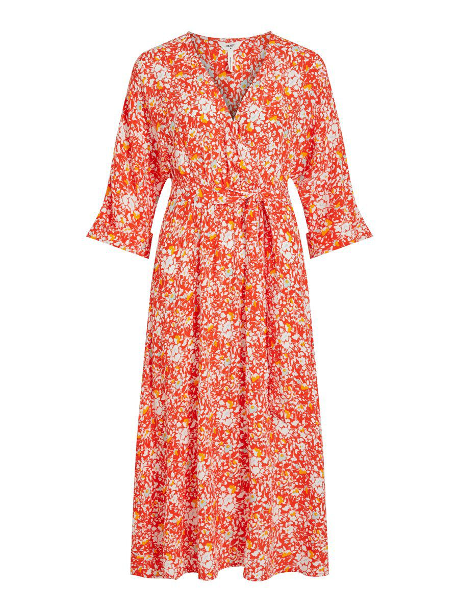 3-4 Sleeved Faux Wrap Maxi Dress Dames Rood