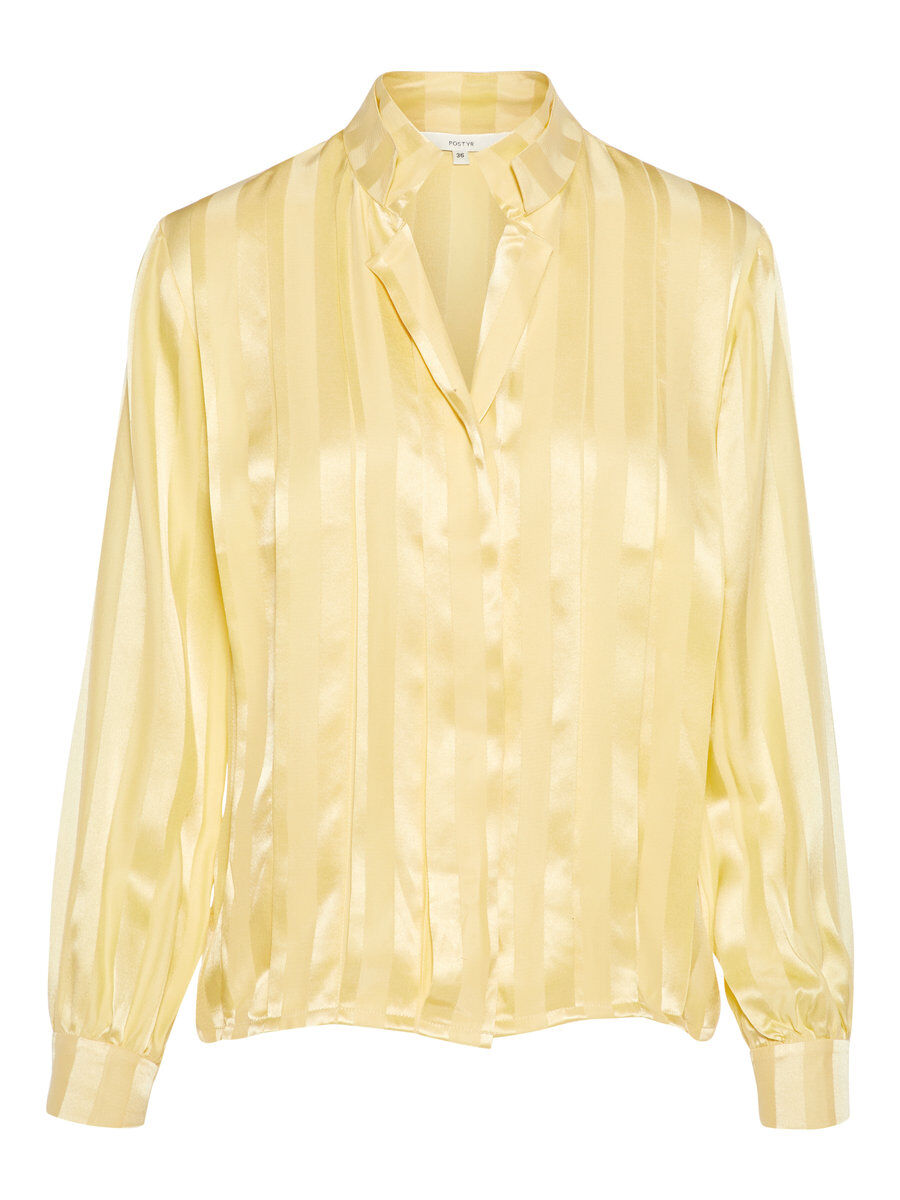P O S T Y R Pleasted Jacquard Silk Shirt Women yellow