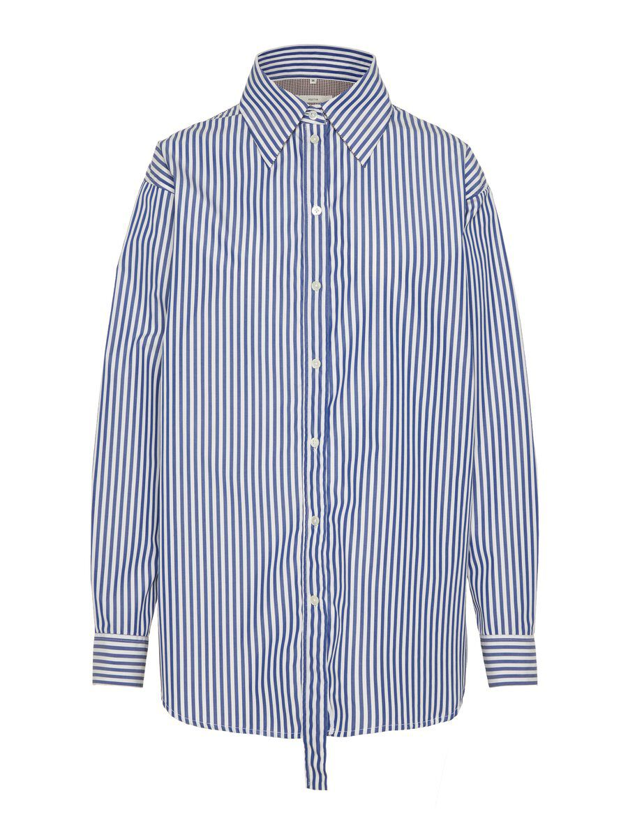 P O S T Y R Oversized Striped Cotton Shirt Women blue