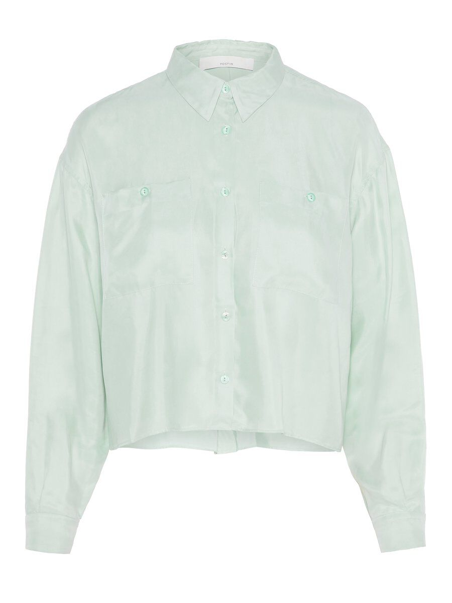 P O S T Y R Cropped Oversized Shirt Women Blue; Green