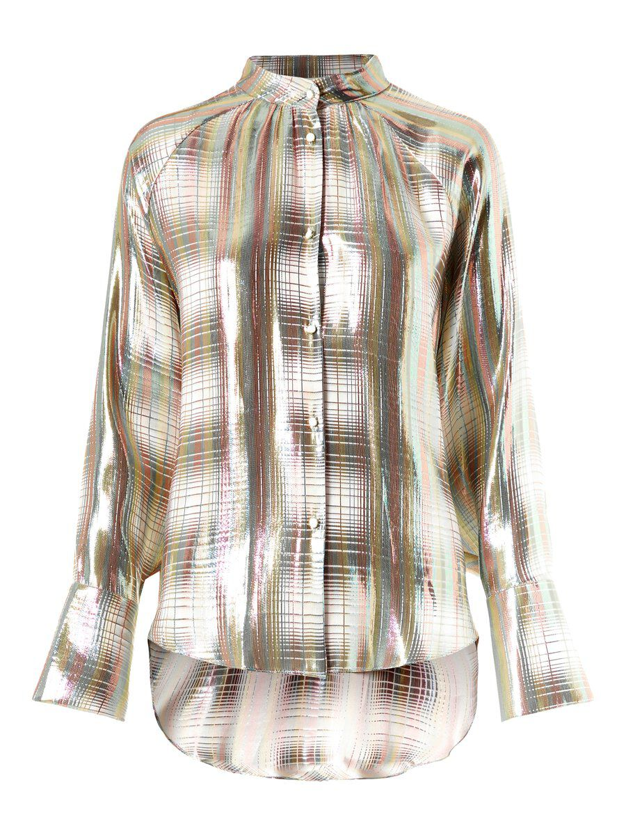 P O S T Y R Silver-checked Silk Shirt Women White