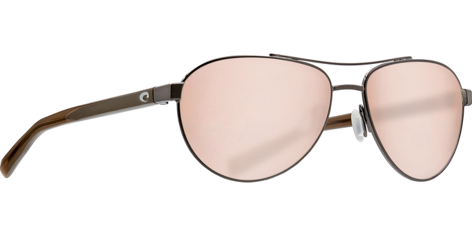 Del Mar Collection - Fernandina Polarized Sunglasses - Brushed Gunmetal - Polarized 580 Copper Silver Mirror Lenses