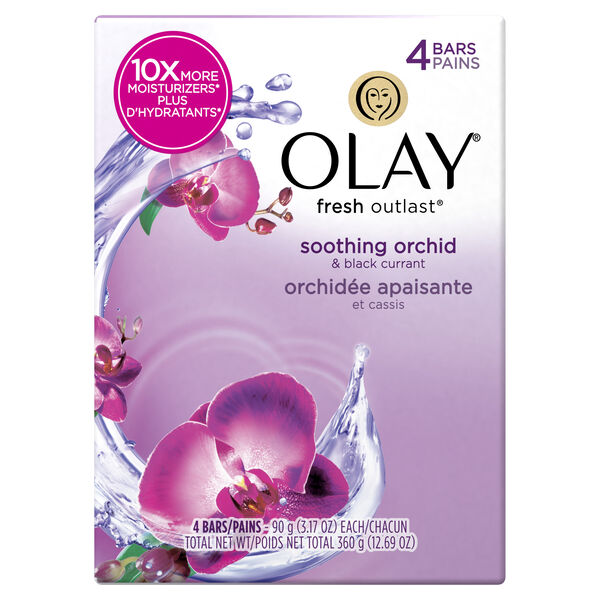 Olay Fresh Outlast Soothing Orchid & Black Currant Beauty Bar 3.17 oz, 4 count