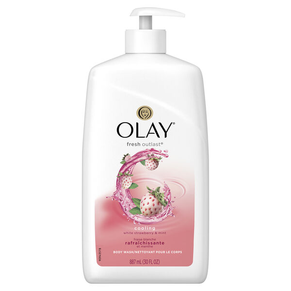Olay Fresh Outlast Cooling White Strawberry & Mint Body Wash 30 fl oz with pump