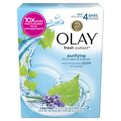 Olay Fresh Outlast Purifying Birch Water & Lavender Beauty Bar 3.17 oz, 4 count