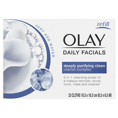 Olay Daily Facial Cleansing Cloths for a Deeply Purifying Clean, Makeup Remover, 33 Count