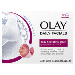 Olay Daily Facial Hydrating Cleansing Cloths w/ Grapeseed Extract, Makeup Remover, 33 Count