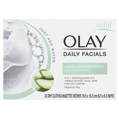 Olay Daily Facial Sensitive Cleansing Cloths w/ Aloe Extract, Makeup Remover 33 Count