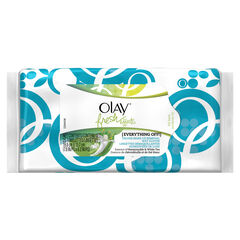 Olay Fresh Effects Everything Off Deluxe Make-Up Removal Wet Cloths, 25 Wipes