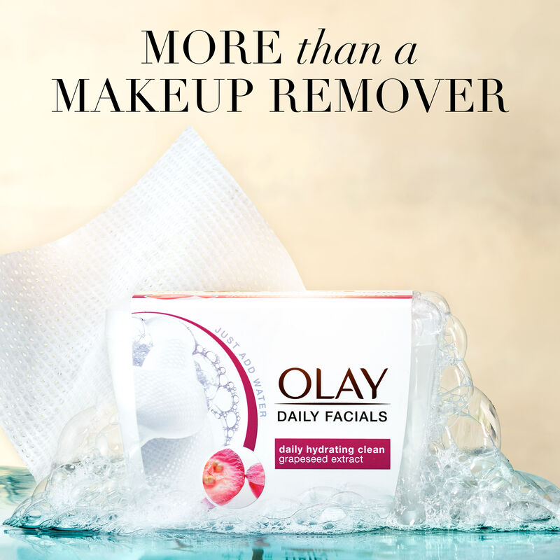 Olay Daily Hydrating Cleansing Cloths Tub w/ Grapeseed Extract, Makeup Remover 33 Count