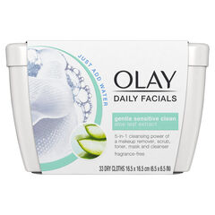 Olay Daily Sensitive Cleansing Cloths Tub w/ Aloe Extract, Makeup Remover 33 Count