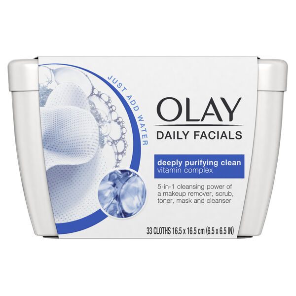 Olay Daily Facial Cleansing Cloths Tub for a Deeply Purifying Clean, Makeup Remover, 33 Count