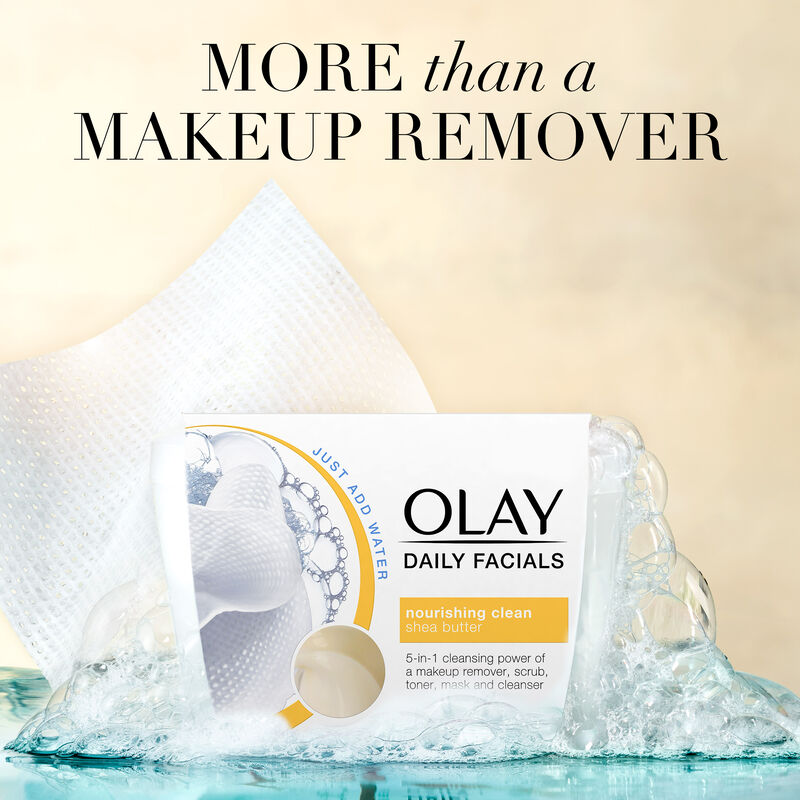 Olay Daily Facial Nourishing Cleansing Cloths Tub w/ Shea Butter, Makeup Remover, 33 Count